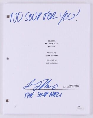 SEINFELD TV SHOW THE SOUP NAZI SCRIPT SIGNED BY LARRY THOMAS