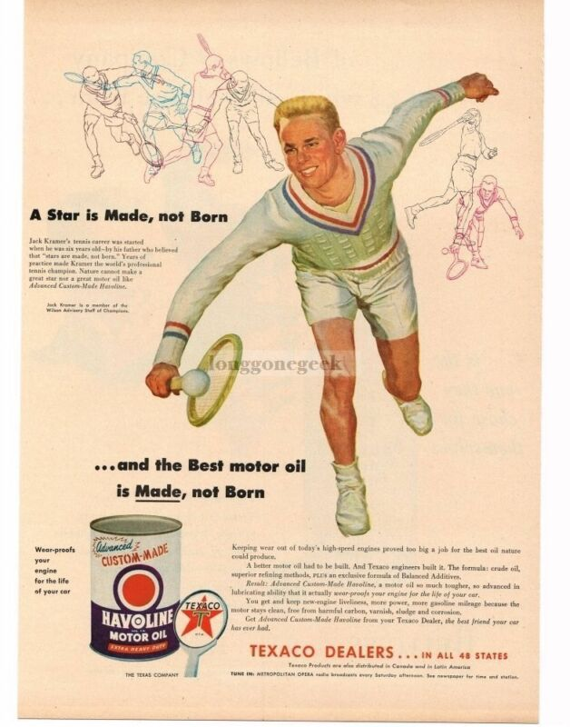 1954 Texaco HAVOLINE Motor Oil Tennis Player JACK KRAMER art VINTAGE PRINT AD