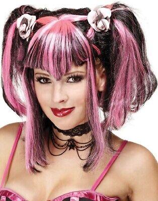 Damen Schwarz Pink Halloween Haarzöpfe Fransige Perücke Kostüm Kleid Outfit