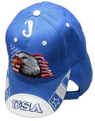 Waving USA American Bald Eagle White Bill Royal Blue Embroidered Cap CAP679 Hat - White Bald Cap