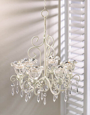 Shabby Bright Chic BEADED Chandelier Shabby Ivory Candle Light