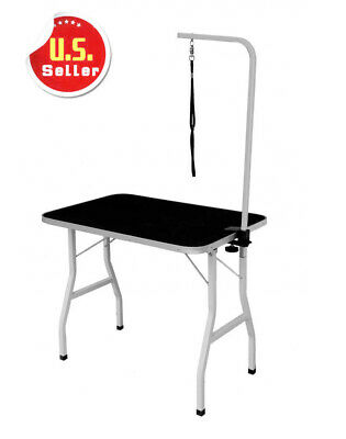 New Large Adjustable Pet Dog Cat Grooming Table W/Arm&Noose Rubber Mat GT36
