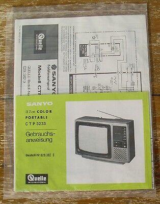 Sanyo Gebrauchsanweisung CTP3233 37cm Fernseher OVP Quelle TV instruction manual