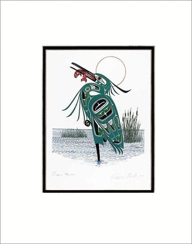 "GREEN HERON 11"" x 14""  Matted art print by Richard Shorty"
