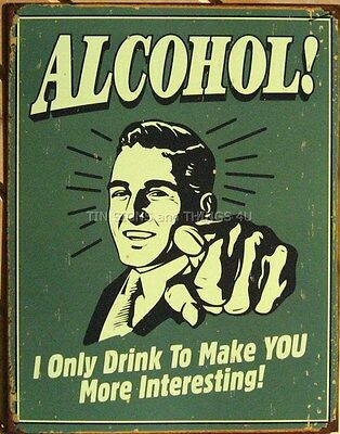 Alcohol TIN SIGN funny beer vtg/retro bar ad garage wall decor metal poster 1329