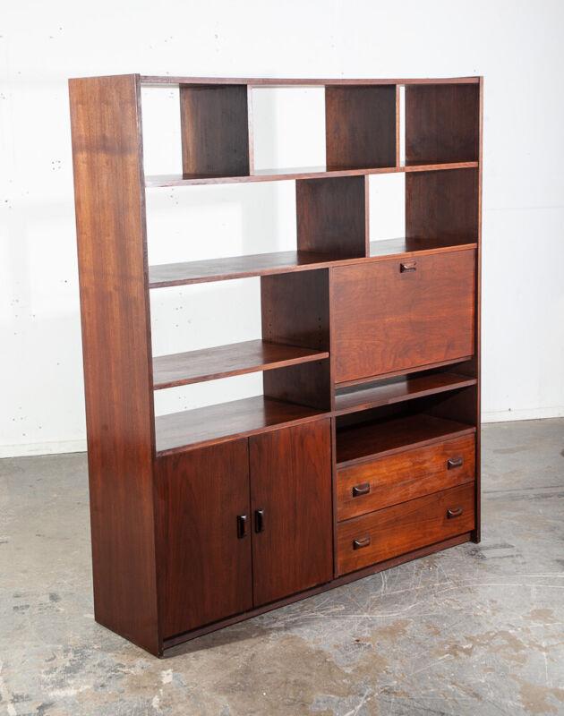 Mid Century Modern Room Divider Wall Unit Desk Cabinet Walnut Vintage Danish M