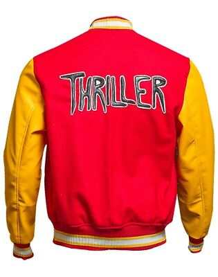 Men's MJ Thriller Michael Jackson Red M Logo Varsity Letterman Bomber Jacket (Michael Jackson M Jacket)