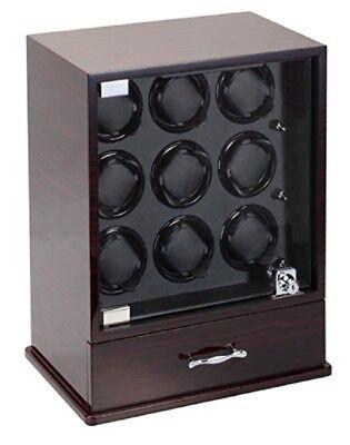 Diplomat 9+10 Nine Watch Winder w/ Storage Ebony Wood Black Leather 31-429