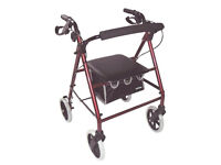 Aidapt 4 wheel lightweight mobility walker rollator with seat