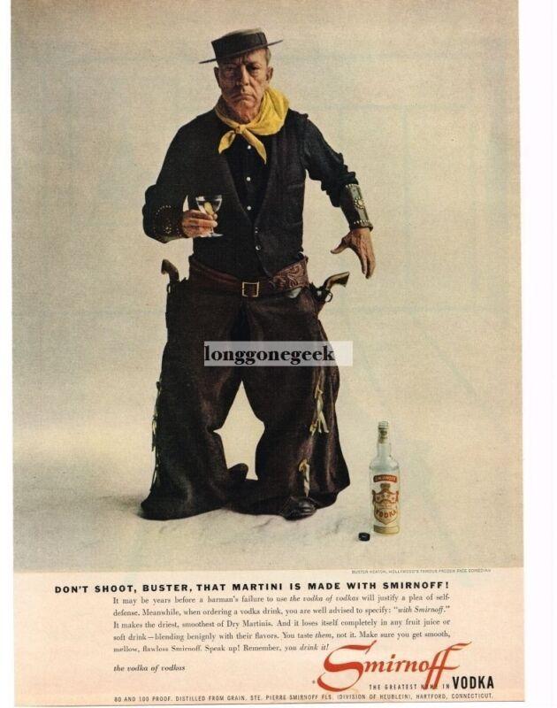 1957 SMIRNOFF Vodka Buster Keaton Dressed as Cowboy Vintage Print Ad