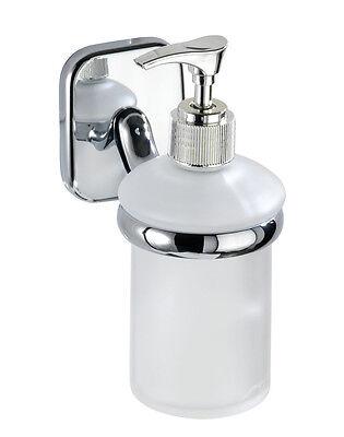 WENKO Seifenspender mit Wandhalterung ideal für WC Bad Dusche satiniertes Glas
