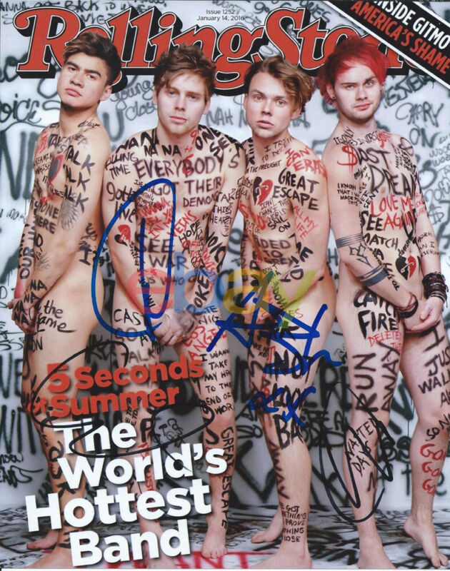 5SOS 5 Seconds of Summer Naked Signed 8x10 Rolling Stone Cover Photo reprint