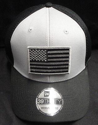 - New Era NE1020 Grey and Black Mesh FlexFit Hat/Cap With Grey American Flag Patch
