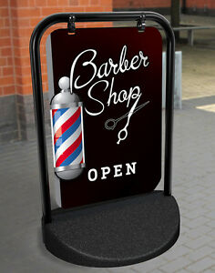 BARBER SHOP PAVEMENT SIGN ADVERTISING SHOP DISPLAY Hairdressing