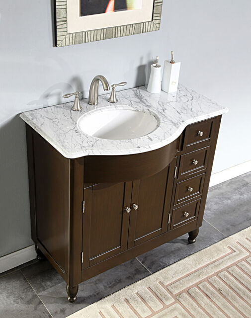 Inch White Marble Stone Top Bathroom Vanity Single Left Sink - 38 inch bathroom vanity