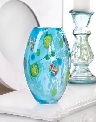 """BLUE FLORAL MODERN ART GLASS VASE CENTERPIECE DECOR 10"""" TALL~10017380"""