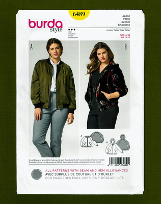 Womans Bomber Style Jacket Sewing Pattern w/wo Hood  Burda 6