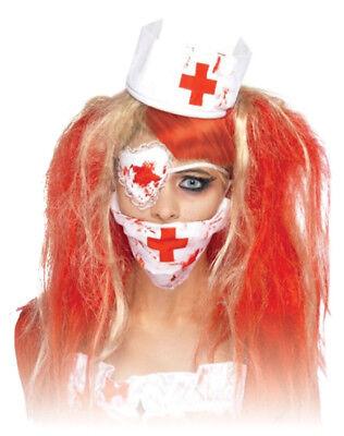 Blutiges Krankenschwester Set - Halloween Kostüm Karneval Mundschutz Augenklappe