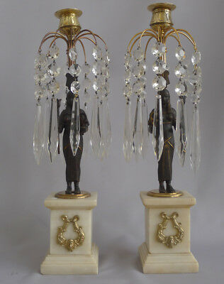 Beautiful Antique English Egyptian revival table lustre candlesticks Circa 1840