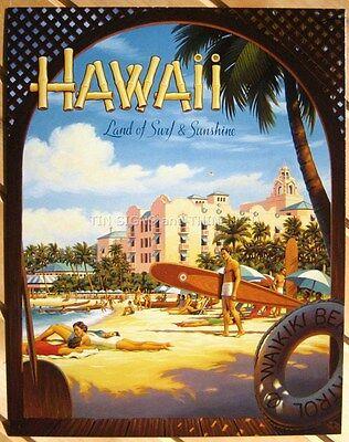 Hawaii Travel Art Poster TIN SIGN Waikiki Beach surf vtg bar wall decor DS#1161