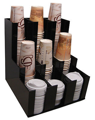 Cup Office Lid Dispenser Holder Coffee And Condiment Caddy Rack Organize 1008