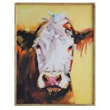 "24"" Cow's Face Canvas Art Print with Frame - Farmhouse Kitchen Decor Picture"