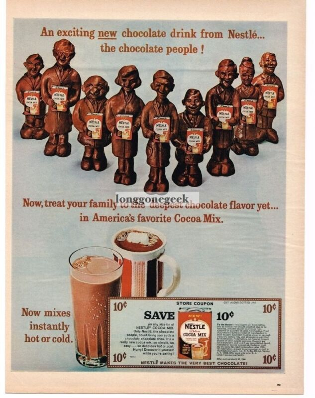 1965 Nestle Cocoa Mix Molded Chocolate People Vintage Ad