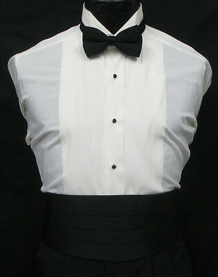 Men's Ivory Tuxedo Shirt Wing Collar Pleated Front Off-White Bone Formal  Formal Wing Collar Tuxedo