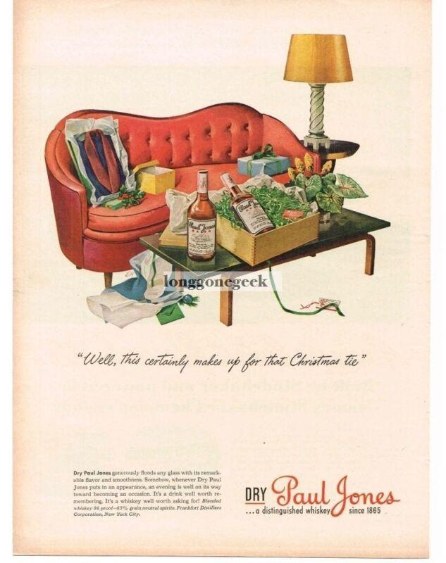 1944 PAUL JONES Whiskey Retro Mid Century Modern Divan art EH Vintage Print Ad
