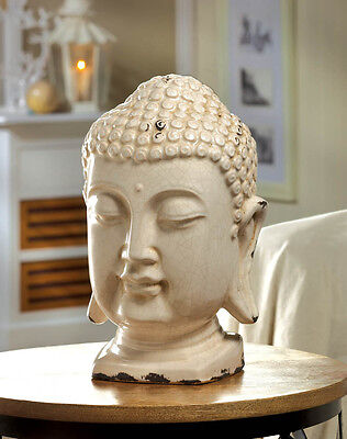"(large 12"" distressed white chic ceramic Buddha head shabby outdoor garden statue)"