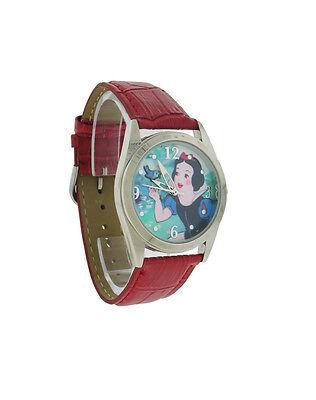 Disney PRS306S Women's Classic Snow White Round Analog Brick Faux Leather Watch