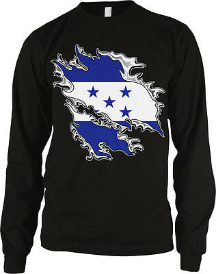 Flag Thermal Shirt - Honduran Flag Colors Honduras Ripped Torn Shirt Heritage Soccer Men's Thermal
