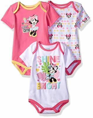 Disney Baby Girls Minnie Mouse Three-Pack Bodysuits Size 12M 18M 24M Baby Three Pack Bodysuits