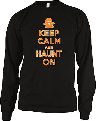 Keep Calm And Haunt On Halloween Poster Ghost Costume Party Boo Of Men's Thermal (Halloween Costume Party Posters)