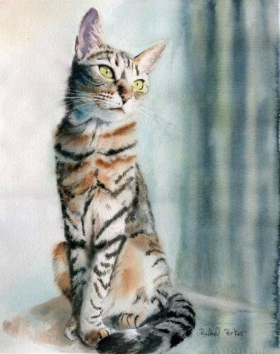 Giclee Print Tabby Cat Painting Watercolor Art 8x10 Modern Contemporary