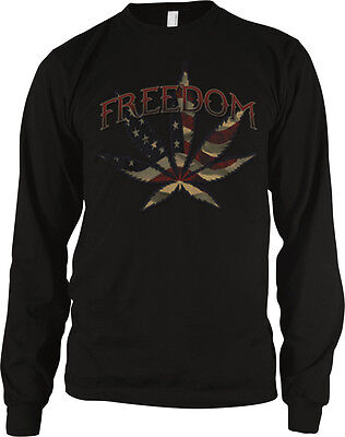 Freedom Pot Leaf Weed Red White Blue Flag Usa America Colors Smoke Mens Thermal