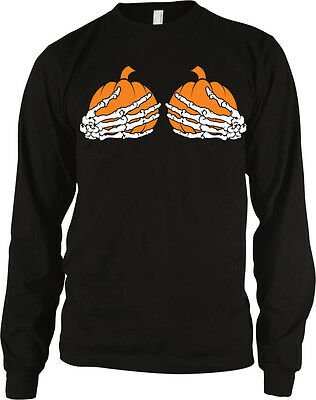 Skeleton Hands Holding Pumpkins Halloween Boobs Sexual Funny Long Sleeve Thermal - Halloween Boobs