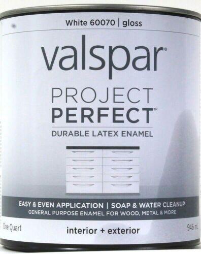 Valspar 1 Qt Project Perfect 60070 White Gloss Inter Exter Durable Latex Enamel