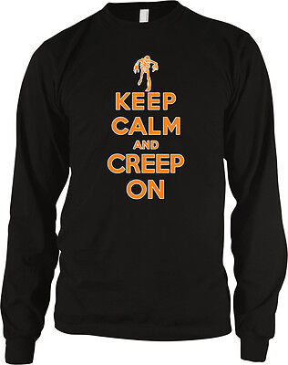 Keep Calm And Creep On Halloween Poster Skeleton Costume Party Boo Men's Thermal (Halloween Costume Party Posters)