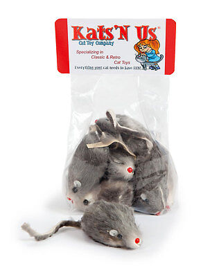 Real Rabbit Fur Mouse Kats'N Us® Cat Toy - 10 Pak -With RATTLE SOUND Fur Mouse Toy