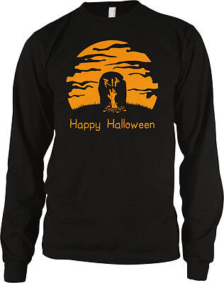 Happy Halloween RIP Tombstone Graveyard Scary Horror Ghouls Long Sleeve Thermal](Happy Halloween Ghouls)