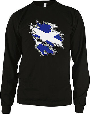 Flag Thermal Shirt - Scottish Flag Colors Scotland Ripped Torn Shirt Heritage Soccer Men's Thermal