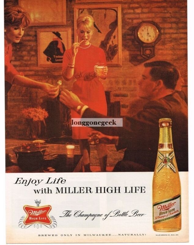 1963 Miller High Life Beer Cocktail Party  Vtg Print Ad