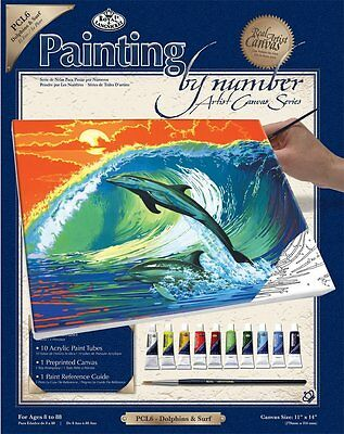 Royal Langnickel Paint by Number Large Canvas Painting Set, Dolphins and Surf Dolphins Paint By Number