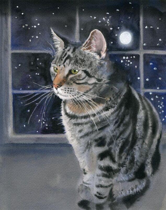 Giclee PRINT Tuxedo Cat Art Watercolor Painting Kitty Heatr Pet Portrait