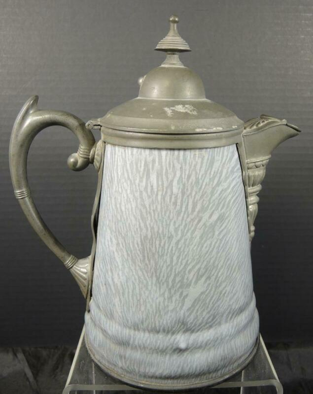 Antique English Pewter & Gray Agateware Coffee Pot