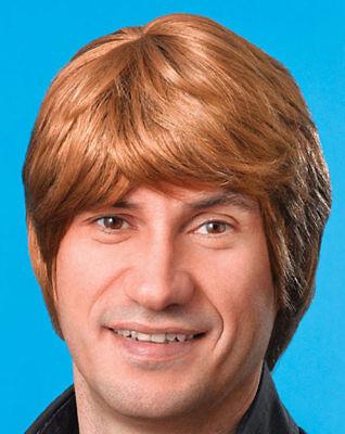 Herren kurze braune Haare Perücke Beatles 60s Pop Brown Wig Kostüm Karneval
