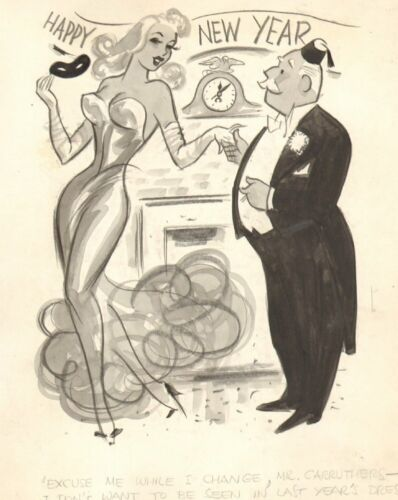 Happy New Year Gag - Wash Art - Humorama 1956 art by Michael Berry