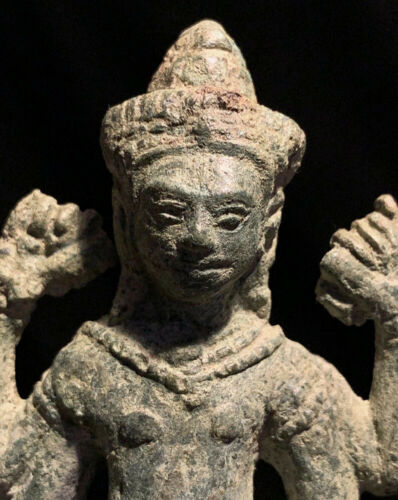 Authentic Khmer bronze statuette of 4-armed deity Cambodia/SE Asia 12-13th c