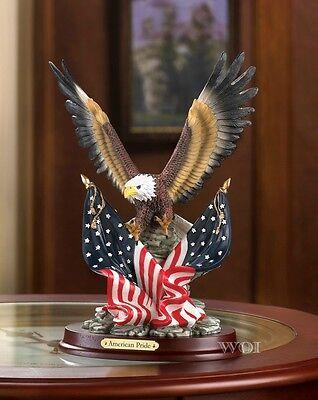 Wildlife American Pride Bald Eagle USA Flag Figurine Patriot Statue Sculpture American Bald Eagle Figurine
